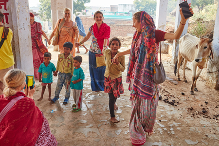 Vrindavan, 22 October 2016: Indian children dance with Hare Krishna devotees, Vrindavan, UP Editorial