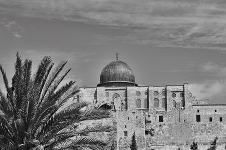 dome of the rock: Muslim minaret landscape view, old city Jerusalem