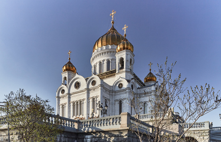 cross: Christ the redeemer cathedral in the center of Moscow Stock Photo