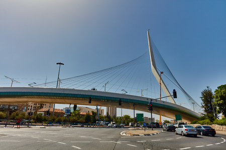 Tel Aviv - 20.04.2017:  Jerusalem city center famous bridge and transportation
