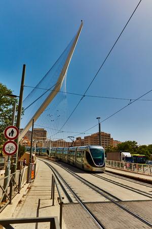 Tel Aviv - 20.04.2017:  Jerusalem city center famous bridge and train