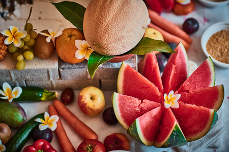 Beautiful sliced fruits arranged for vedic wedding Stock Photo
