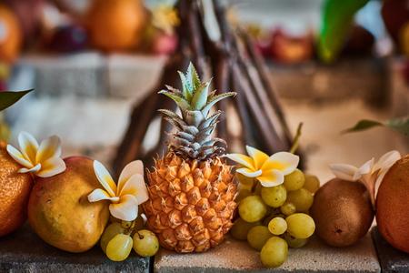 Beautiful fruits arranged with blurred background Reklamní fotografie