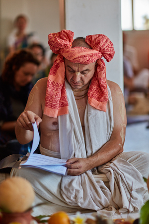 Tel Aviv - 10.05.2017: Vedic traditional Hare Krishna priest conductiong wedding in Israel