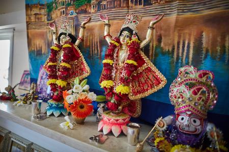 Tel Aviv - 10.05.2017: Hare Krishna Gaura Nitay form of God on altar in temple Editorial