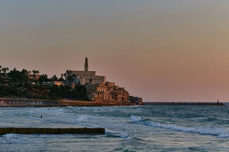 jaffo: Sea view on ancient Jaffa city, sunset