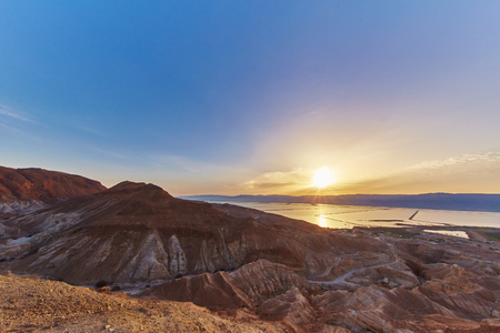 Dead sea sunrise view from the mountais Stock Photo