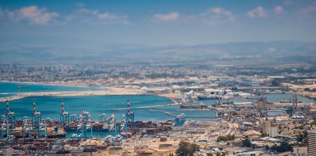 Haifa industrial port, tilt-shift photo
