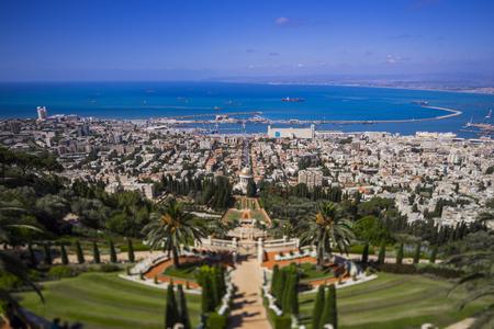 Haifa Bahai garden view to the sea