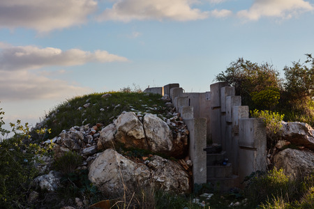 Cement bunker at sunset time, Israel, Samaria Stock Photo