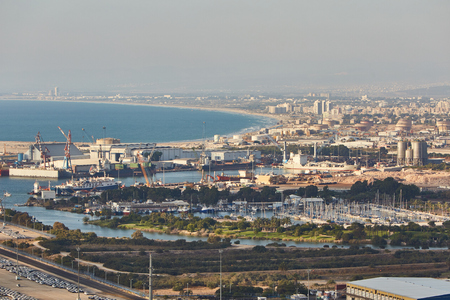 Haifa industrial port, aerial panoramic landscape photo.