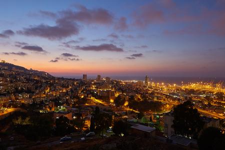 Haifa city, night view aerial panoramic landscape photo.