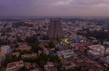 Aerial view on Sounth India ancient temple gopuram, Trichy