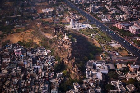 Jaipur mountain fortification temple of Ganesh, aerial drone view