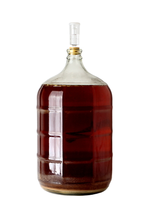 Carboy of Fermenting Homebrew Beer Stock Photo
