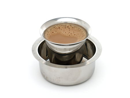 Madras: Madras Coffee in Traditional Indian Tumbler and Devorah Stock Photo