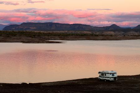 Camper Parked on Lake Pleasant Shoreline