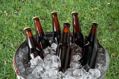 beer bucket: Six Pack of Beer in Ice Bucket