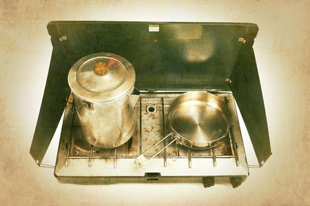 old gas stove: Camping Stove with Vintage Effects