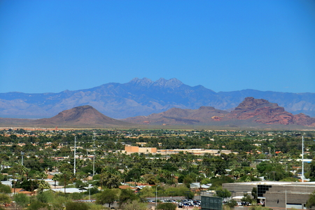 Four Peaks over Scottsdale, Arizona Stock Photo