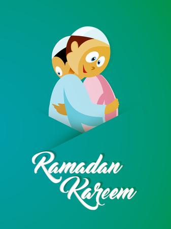 创意矢量抽象的Ramadan Kareem与漂亮的设计插图。
