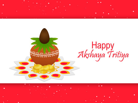 nice and beautiful abstract design for Akshaya Tritiya with nice and creative kalash illustration in a white background.