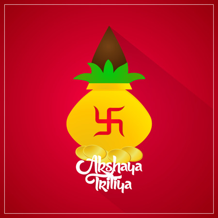 nice and beautiful abstract design for Akshaya Tritiya with nice and creative kalash illustration in a red background.