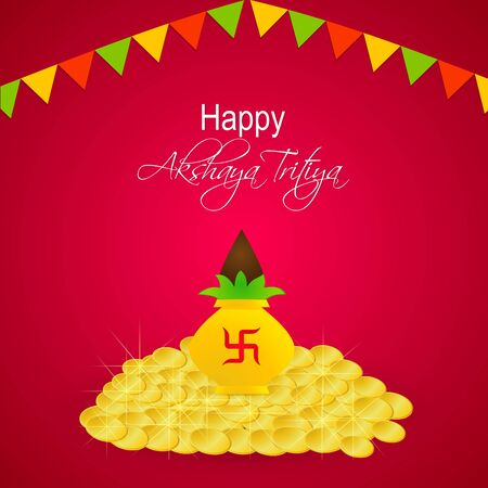 nice and beautiful abstract for Akshaya Tritiya with nice and creative kalash illustration in a red background. Illustration