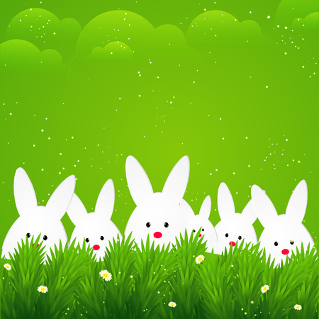 creative abstract or poster for Easter with nice and creative bunny illustration in a grassy land