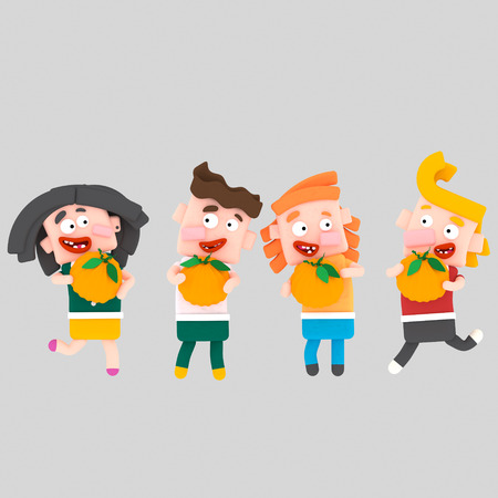 Children playing with pumpkins .3d illustration