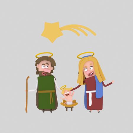 El nacimiento de Jesús Ilustración .3d Foto de archivo - 90823539