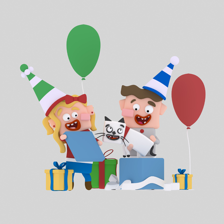 Kids opening gifts .3d illustration Stock Photo