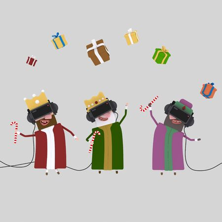 Three magic kings playing with virtual realily glasses .3d illustration