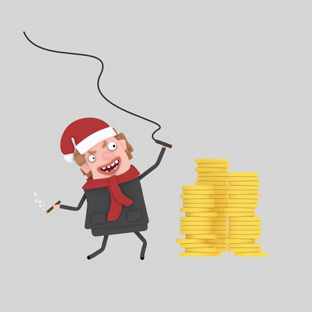 businessman with whip controlling his money. .3d illustration Stock Photo