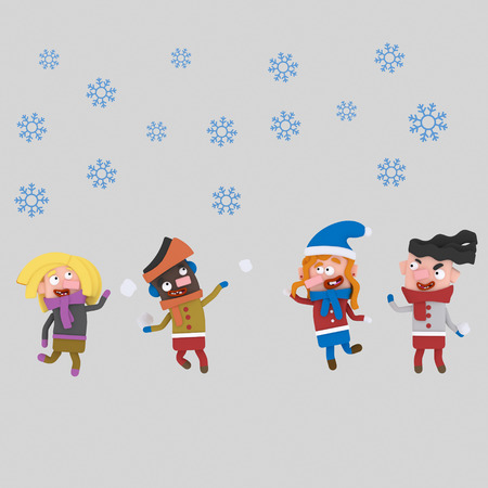Kids playing in snow. .3d illustration