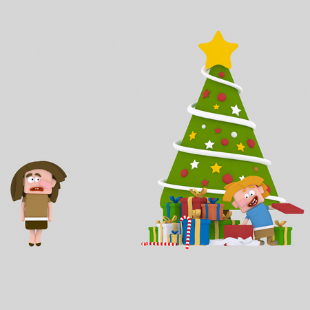 Poor girl without Christmas gifts..3d illustration