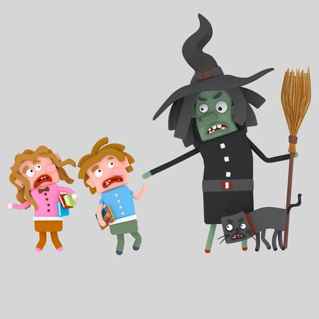 Angry witch scaring kids .3d illustration Stock Photo