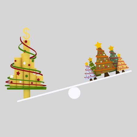 Rbol de Navidad balance.3d ilustración Foto de archivo - 90808002