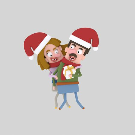 Happy Couple with xmas gift.3d illustration Stock Photo