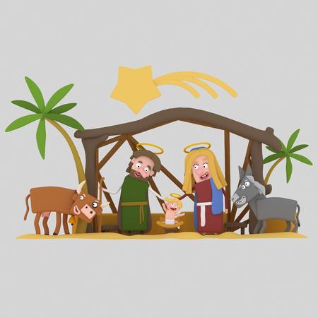 The Stable of Bethlehem.3d illustration