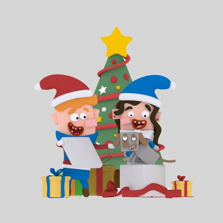 Brothers opening gifts in front of Xmas tree. .3d illustration