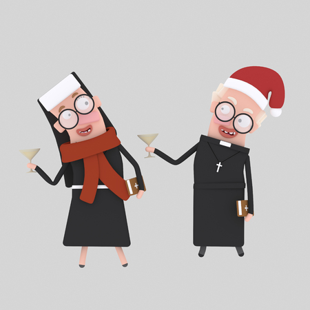 Nun and priest toasting with champagne Chritsmas .3d illustration Stock Photo