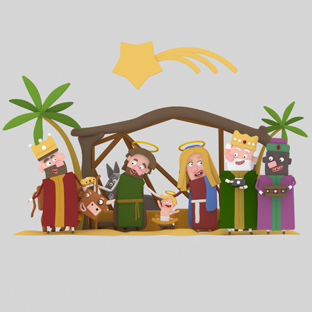 The Stable of Bethlehem. Worship..3d illustration