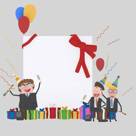 Teamwork banner.3d illustration