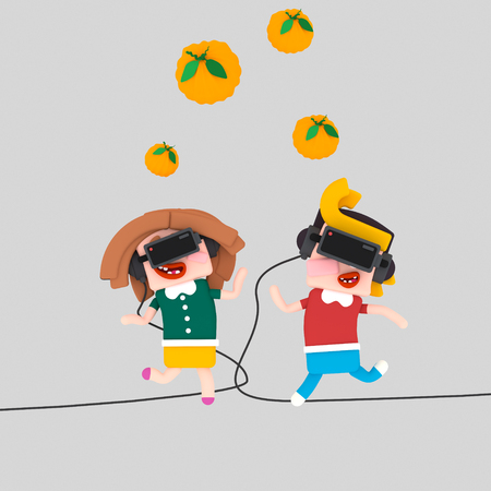Kids playing with VR set.3d illustration Stock Photo