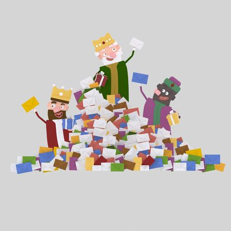 Three Magic Kings and heap of letters.3d illustration