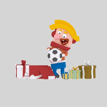 Kid opening gifts.3d illustration
