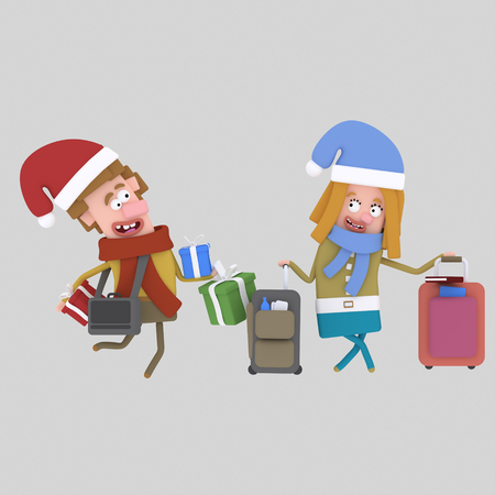 Christmas homecoming. Couple with suitcases..3d illustration Stock Photo