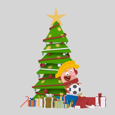 Blonde boy opening gifts in front of Xmas tree..3d illustration.