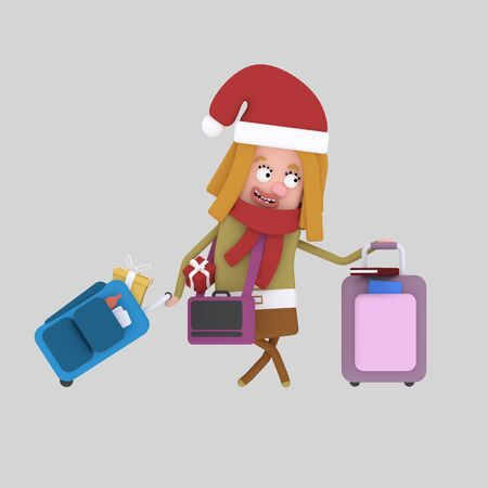 Christmas homecoming. Young girl with suitcases..3d illustration.